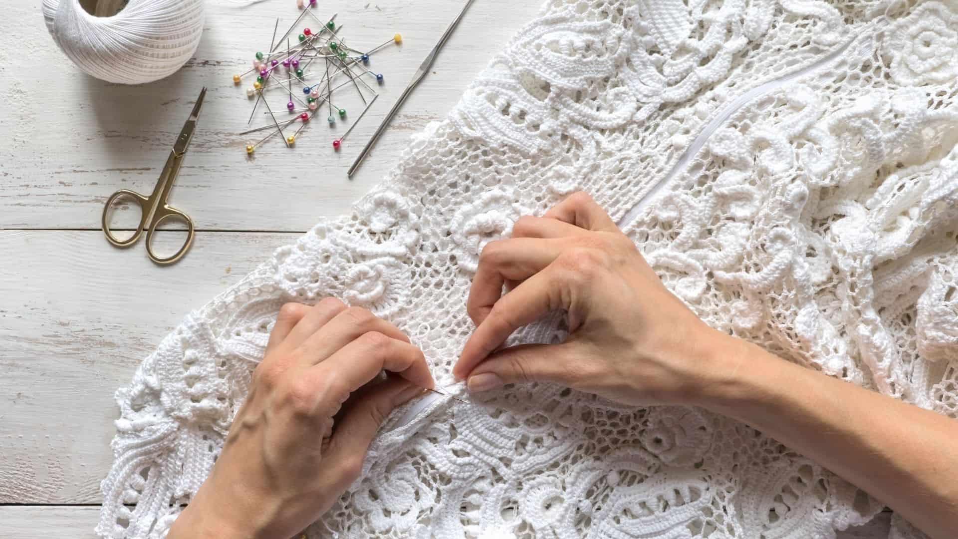 business woman designing a wedding dress